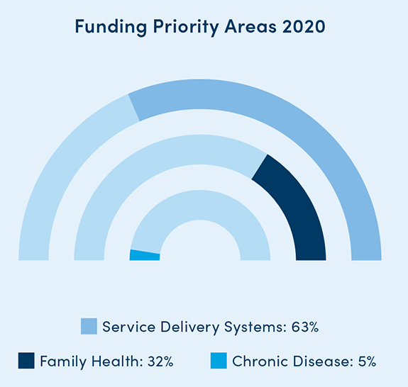 Foundation Funding Priority Areas for 2017: Family health had 125 grants (86 percent); chronic disease had 14 grants (10 percent); service delivery systems had 6 grants (4 percent) in 2017